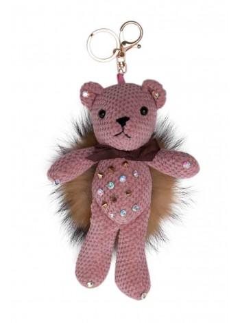 Брелок Мишка вязаный с шипами и мехом