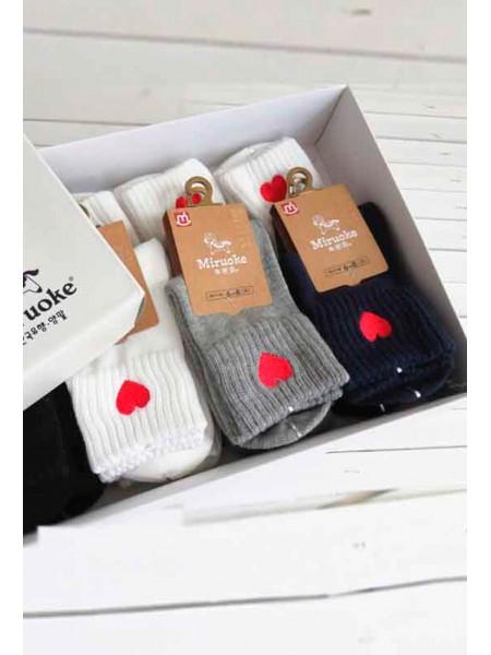 Носки с отворотом и с вышивкой сердце Gufo