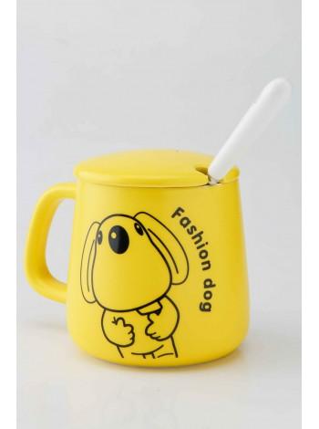 Чашка керамическая с ложкой и крышкой FASHION DOG