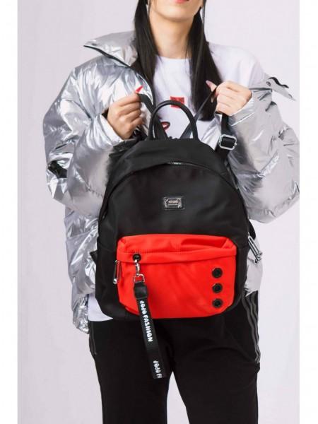 Рюкзак с красным карманом и тремя заклепками JO JO