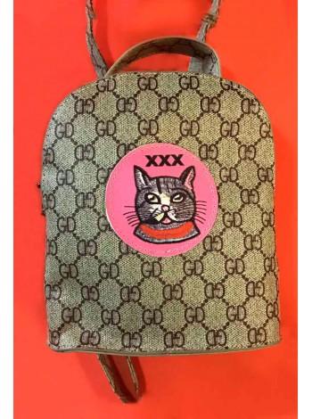 Рюкзак GUCCi по центру принт -  кот Gufo