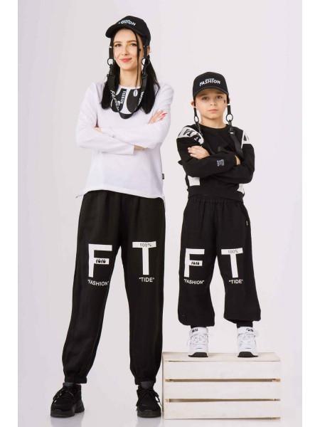 Штаны спортивные с принтом F T на штанинах  JO JO