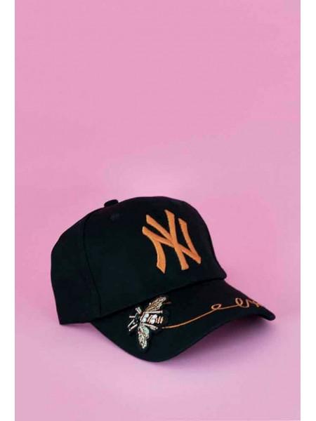 Кепка NY с вышивкой - цветы сбоку Gufo
