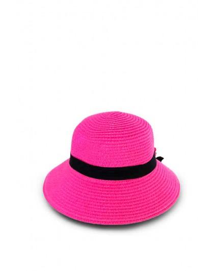 Шляпа соломенная розовая с бантом Gufo