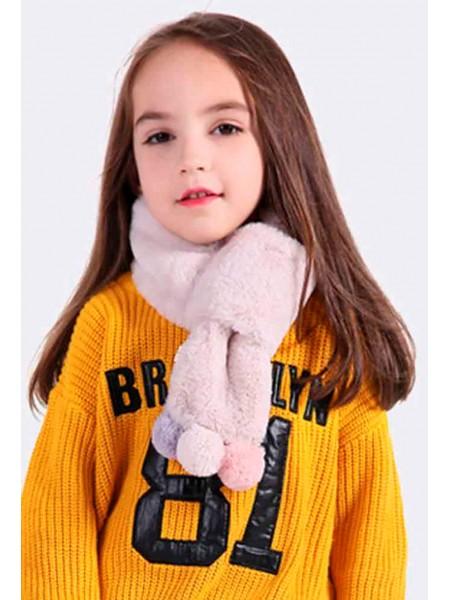 Меховый короткий шарф с 3 помпонами Gufo