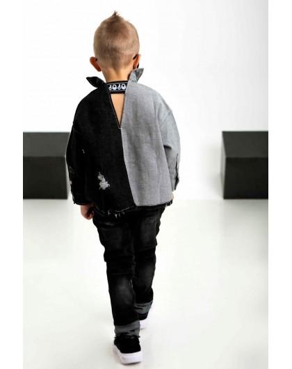 Рубашка джинсовая двухцветная на кнопках и резинкой на спине JO JO