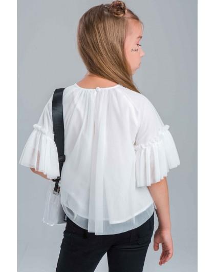 Блуза с фатином и принтом JOJO