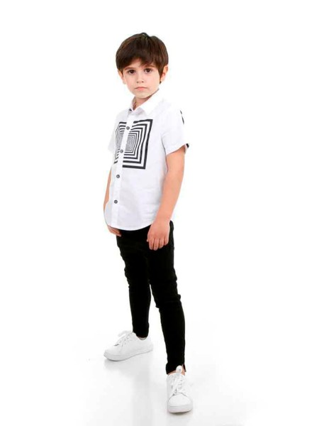 Рубашка с коротким рукавом, принт Оптический квадрат JO JO