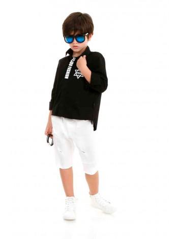 Рубашка хлопковая с принтом - звезда JO JO