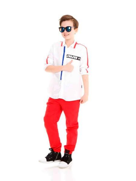 Рубашка лен с красными полосами на рукавах JO JO