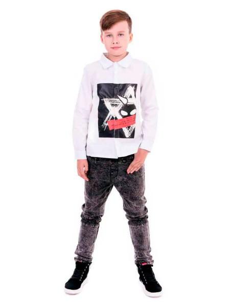 Рубашка с квадратным черным принтом Manan