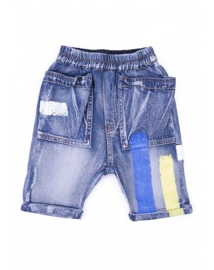 Бриджи джинс полоса голубая желтая JO JO