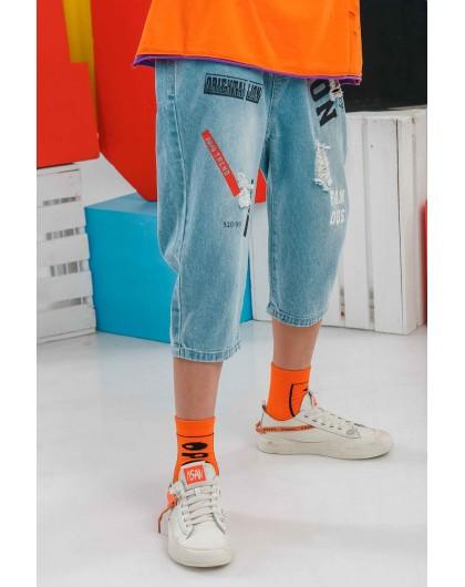 Бриджи джинсовые с принтами JO JO