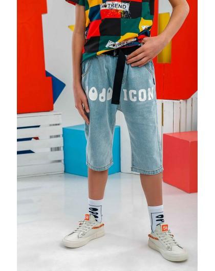Бриджи джинсовые с ремнем в комплекте JO JO