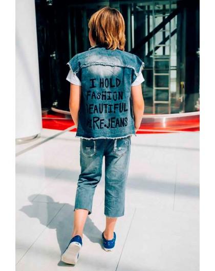 Бриджи джинс с потертостями буквеный пояс JO JO