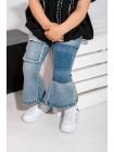 Джинсы со вставкой и разрезами на штанинах JO JO
