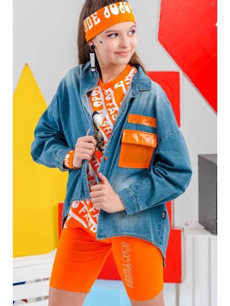 Рубашка джинсовая с оранжевым карманом на груди JO JO