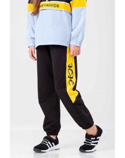 Штаны спортивные с желтыми вставками JO JO