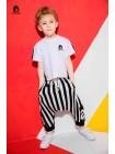 Штаны с заниженной матней черно-белая полоса Manan