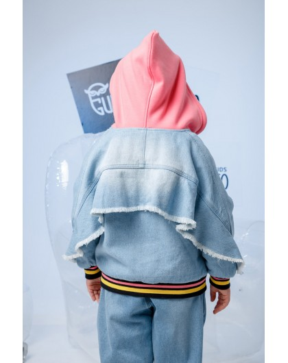 Куртка джинсовая с розовым капюшоном JO JO