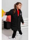 Пуховое пальто с нашивкой JO JO