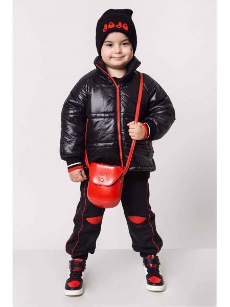 Куртка с красными молниями и принтом на спине JO JO