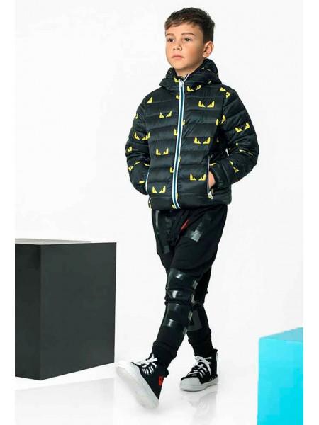 Куртка - пуховик с принтами - желтые глаза Gufo