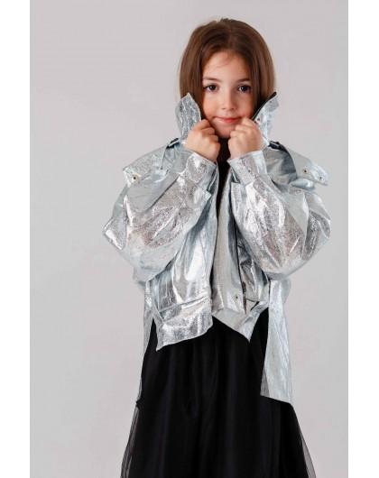 Куртка серебристая с капюшоном, светоотражающая JO JO