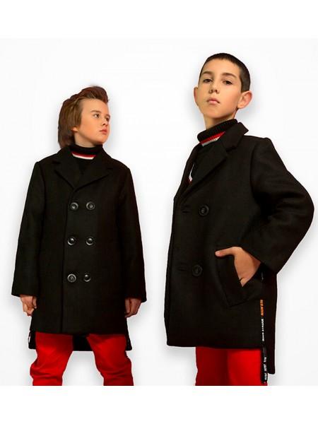 Пальто с нашивкой из эко-кожи на спине JO JO