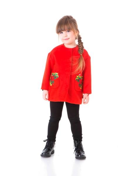 Пальто твидовое с вышивкой на карманах JoJo