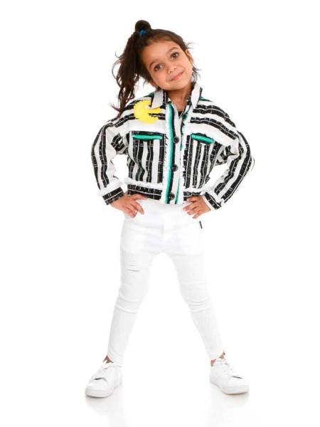 Пиджак льняной с оригинальным принтом и бахромой JoJo