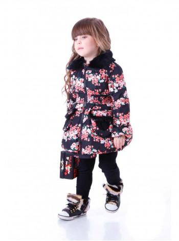 Пуховик в стиле Dolce & Gabbana с натуральным мехом JO JO