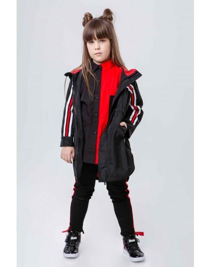 Куртка - плащ, удлиненная с капюшоном JO JO