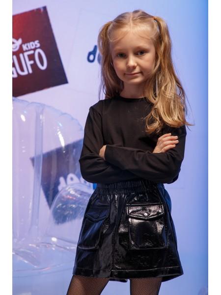 Юбка-шорты из экокожи с накладными карманами JO JO