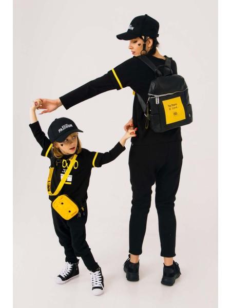 Штаны с желтыми полосами на карманах JO JO