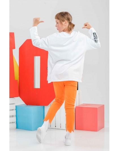 Свитшот с оранжевой вставкой WHATS UP JO JO
