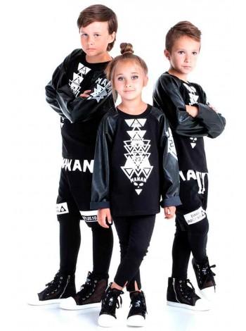 Джемпер с рукавами из эко-кожи Manan