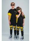 Штаны спортивные с желтым принтом Manan