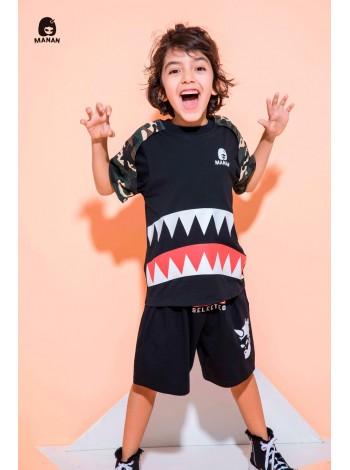 Футболка с принтом зубов акулы и камуфляжным принтом Manan