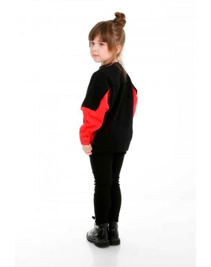 Джемпер с вставками на рукавах и красным низом JO JO