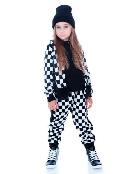 Спортивные штаны утепленные на флисе - шахматка JO JO
