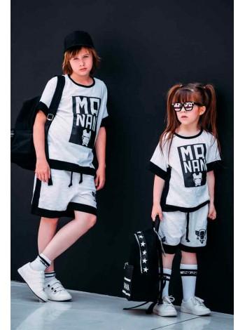 Костюм с шортами (футболка + шорты)белый черная окантовка надпись Manan