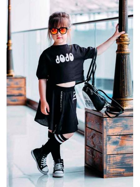 Хлопковый костюм (топ+юбка) с надписью JO JO