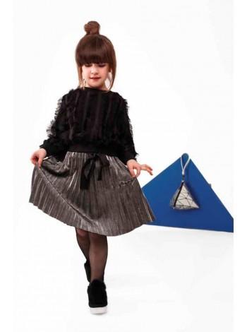 Костюм с юбкой двойка: блуза с бахромой и юбка металлик JO JO