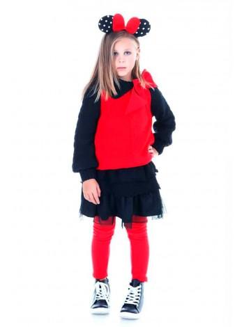 Костюм с юбкой трикотажный: свитер с бантом + юбка фатин JO JO