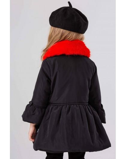 Куртка-пуховик со съемным меховым воротником JO JO