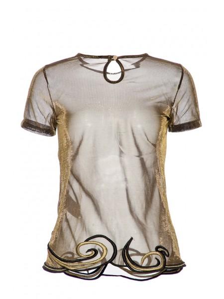 Блуза сетчатая с золотым отливом Waggon Paris