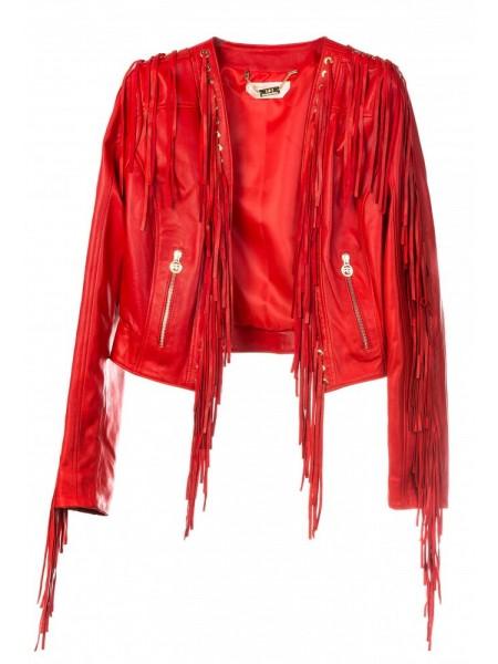 Куртка кожаная с бахромой Roberta Biage