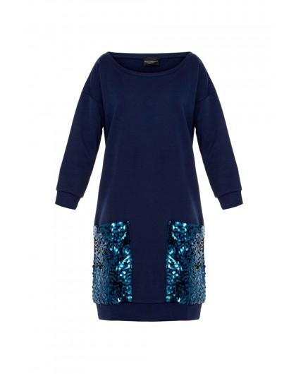 Платье с карманами в пайетках Atos Lombardini