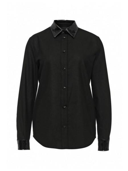 Рубашка черная с лаковым воротником Moschino
